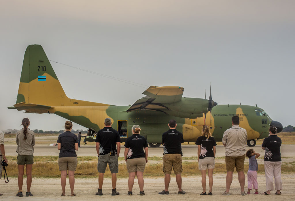 Team in front of the BDF C130 aircraft