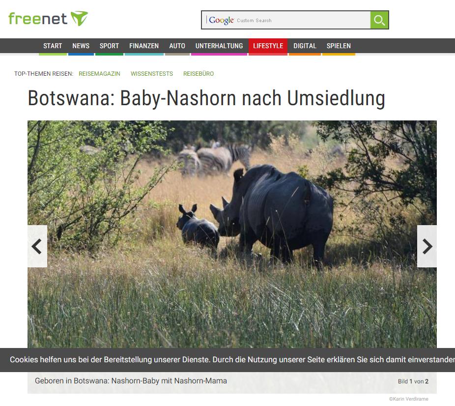 Botswana: Baby Nashorn nach Umsiedlung