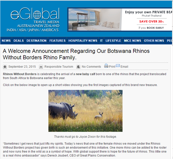 Rhinos without borders is celebrating the arrical of a new baby calf
